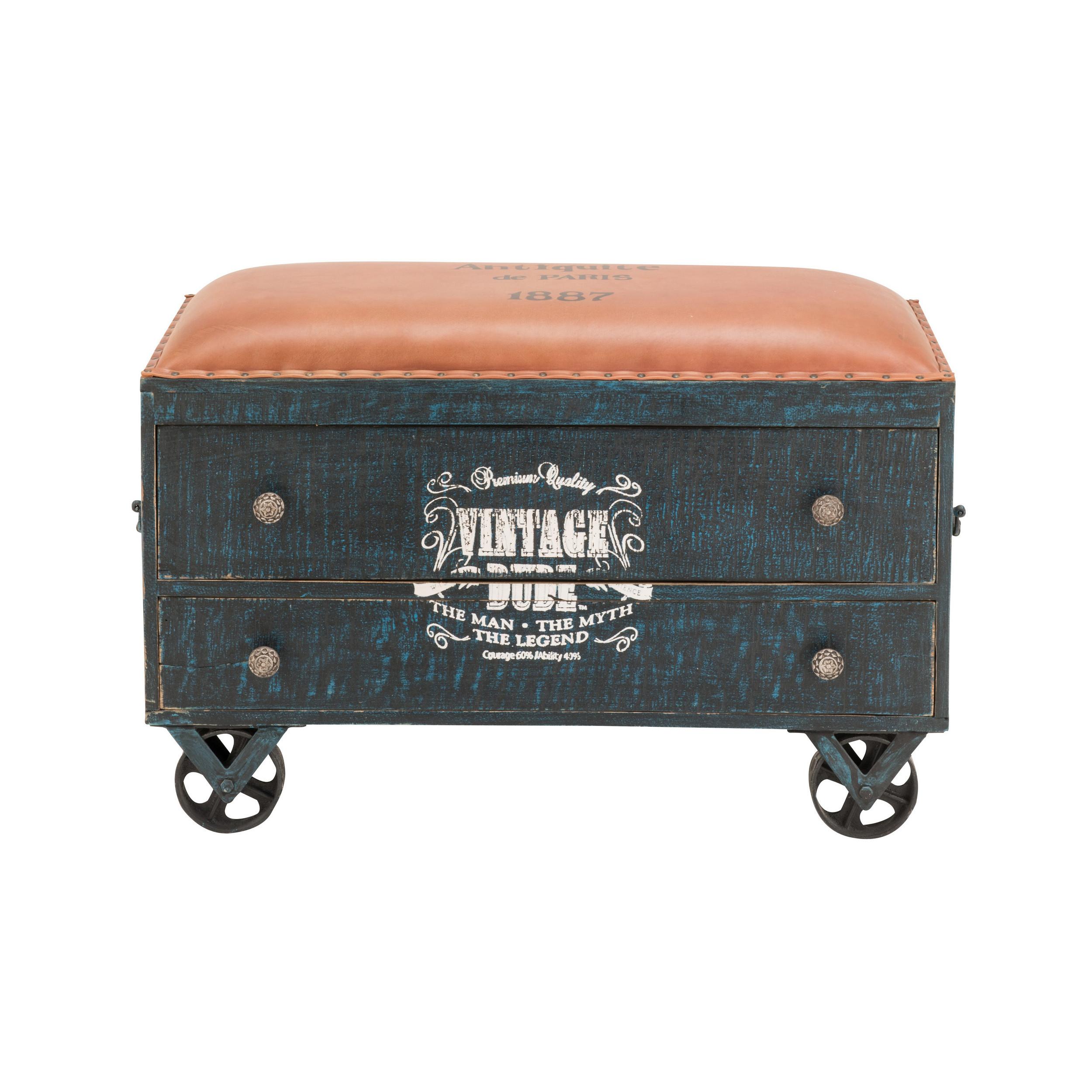 SOLDES - Coffre de rangement vintage en bois de manguier massif coloris noir avec assise en cuir ...