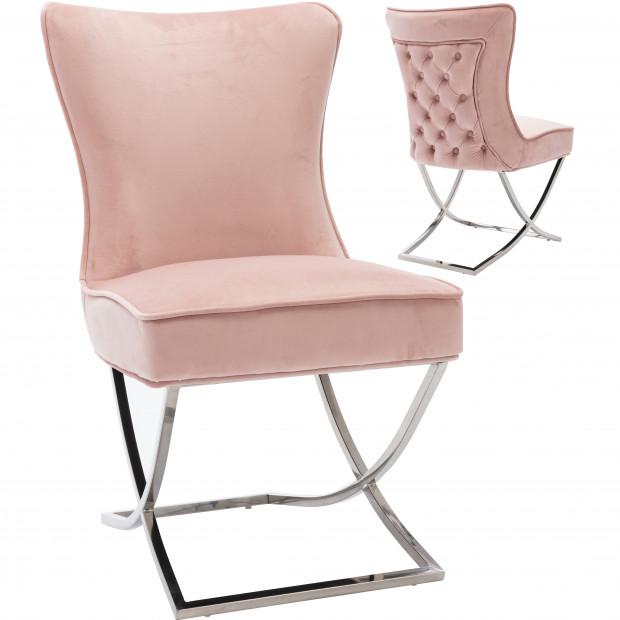 Chaise de salle à manger design avec capitonnage à l'arrière revêtement en velours rose et piètement croisée en acier inoxydable argenté collection CAVALLI