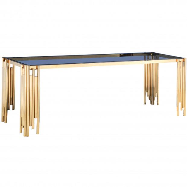 Table de salle à manger design piètement en acier inoxydable poli doré et plateau en verre trempé anthrancite L. 180 x P. 90 x H. 76 cm collection MILANO