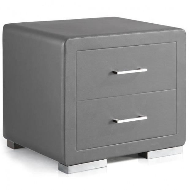 Chevet - table de nuit gris design en bois mdf L. 49 x P. 38 x H. 43,5 cm Collection Cullen