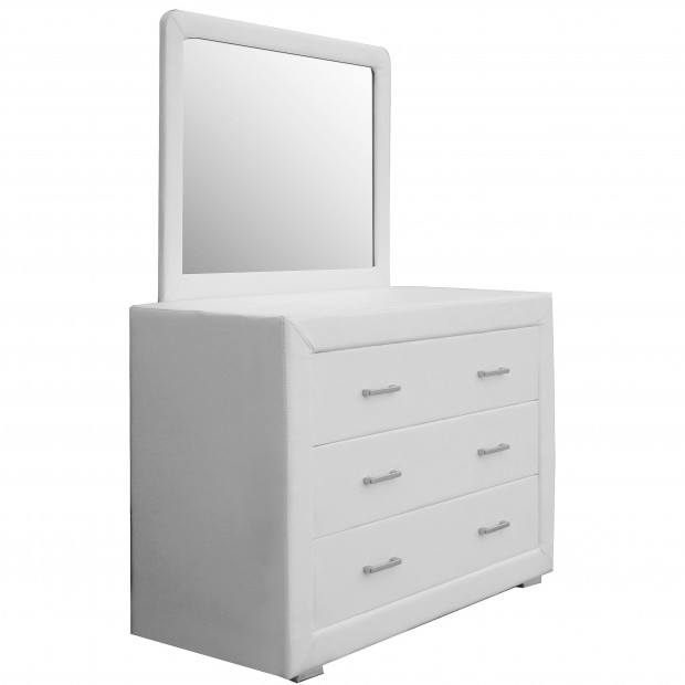 Commode blanc design en bois mdf L. 100 x P. 42 x H. 72 cm collection Cullen