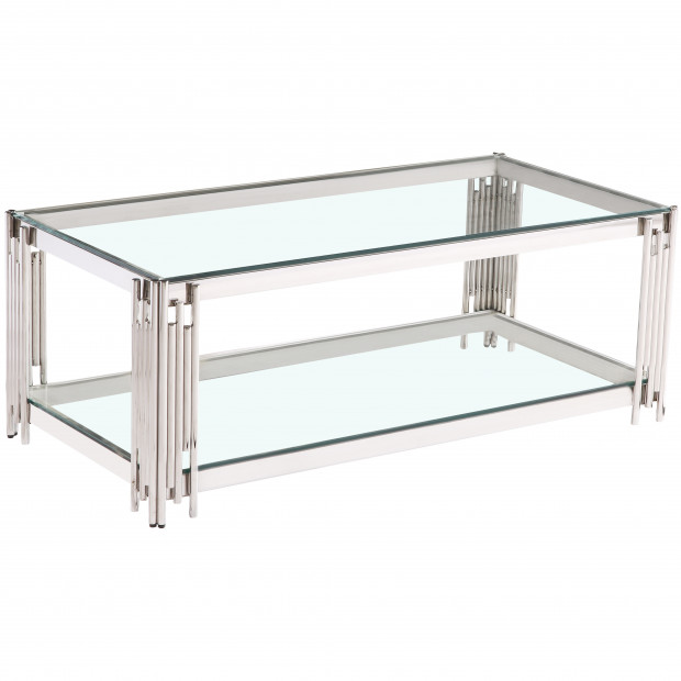 Table basse design en acier inoxydable poli argenté et plateau en verre trempé transparent 120 cm x 60 cm collection MILANO