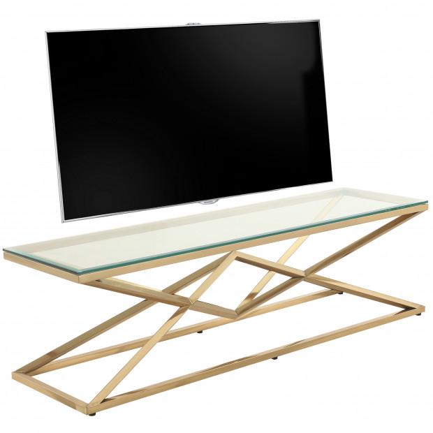 Meuble tv design en acier inoxydable poli doré et verre trempé L. 150 x P. 40 x H. 45 cm collection PARMA