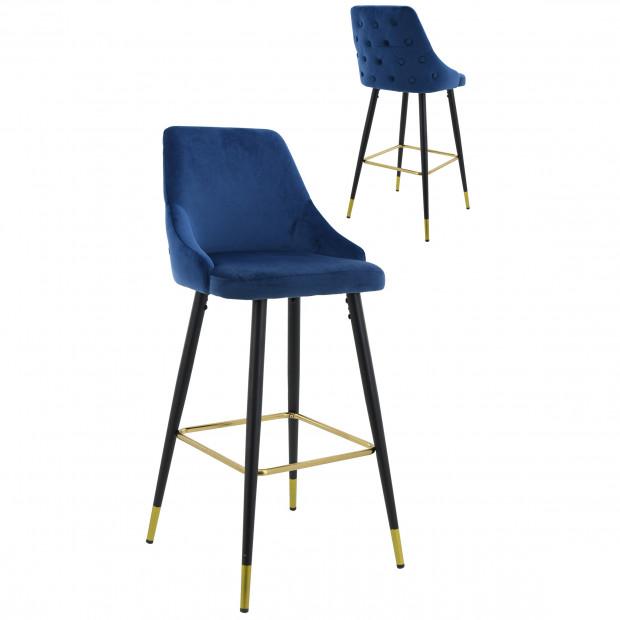 Lot de 2 Tabourets de bar design capitonné à l'arrière revêtement en velours bleu avec piètement en acier noir et doré collection HUNTER L. 50 x P. 50 x H. 110 cm