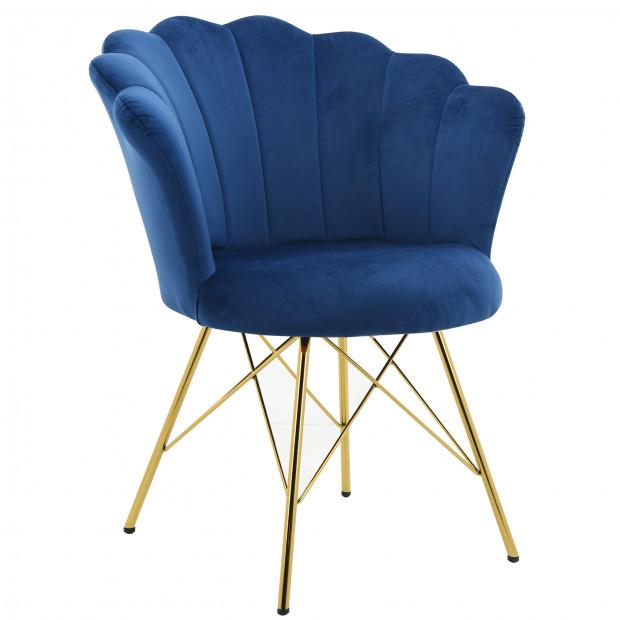 Chaise salle à manger design revêtement en velours bleu avec piètement en acier doré collection CONRAD L. 45 x P. 44.5 x H. 84.5 cm