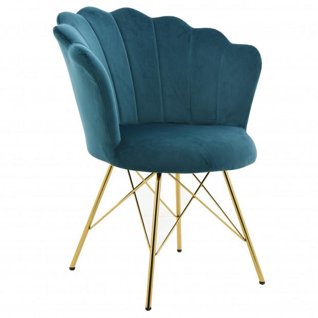 Chaise salle à manger design revêtement en velours vert  avec piètement en acier doré collection CONRAD L. 45 x P. 46 x H. 48.5 cm