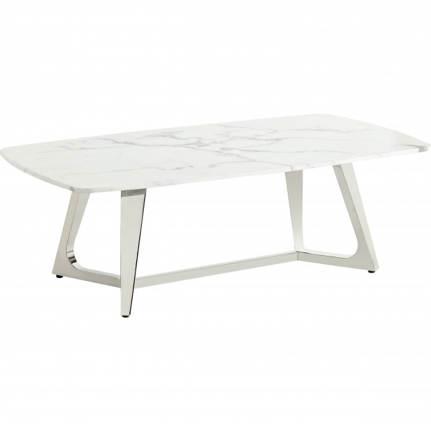 Table basse design avec un plateau en marbre artificiel blanc et un piètement en acier inoxydable poli argenté Collection Veneta L. 130 x P. 70 x H. 42 cm