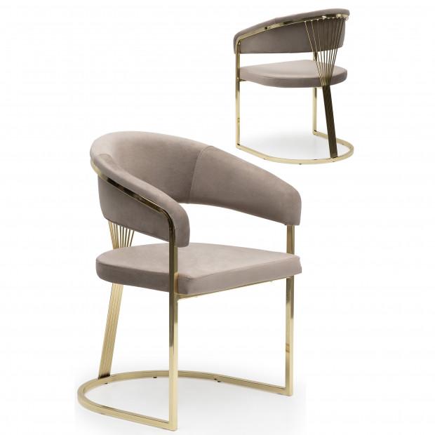 Chaise design en acier chromé doré et revêtement en velours beige collection ALARA L. 55 x P. 55 x H. 85 cm