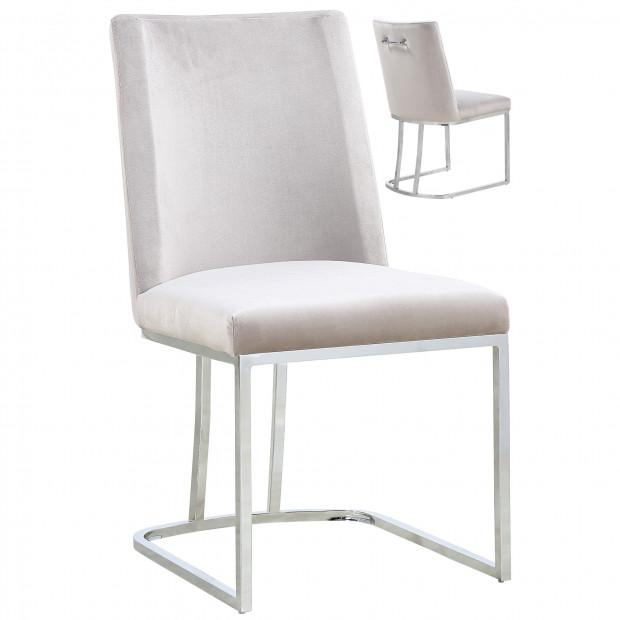 Lot de 2 chaises  de salle à manger  design revêtement en velours marron avec piétement en acier argenté L. 45.5 x P. 53.6 x H. 86 cm collection MILO