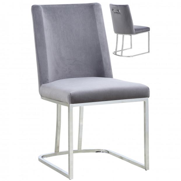 Lot de 2 chaises  de salle à manger  design revêtement en velours  gris avec piètement en acier argenté L. 45.5 x P. 53.6 x H. 86 cm collection MILO