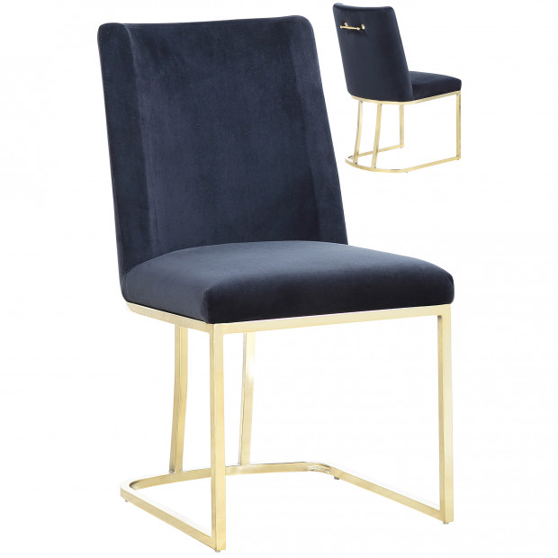Lot de 2 chaises de salle à manger  design revêtement en velours noir avec piétement en acier doré  L. 45.5 x P. 53.6 x H. 86 cm collection MILO