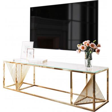 Meuble tv design en acier inoxydable poli doré et verre trempé L. 160 x P. 45 x H. 45 cm collection BOLZANO