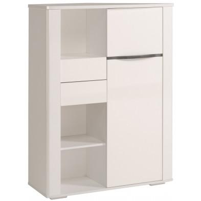 Argentier - meuble bar design blanc en panneaux de particules de haute qualité L. 100 x P. 38 x H. 135 cm Collection Applin