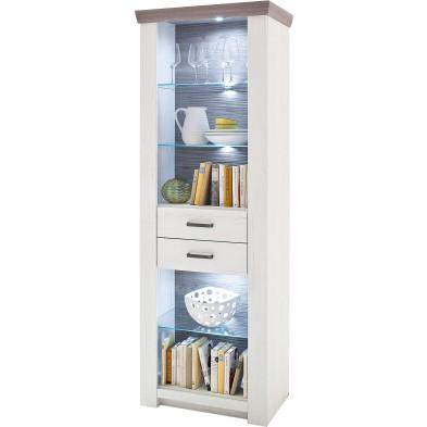 Argentier - vaisselier - vitrine contemporain coloris blanc et marron en panneaux de particules mélaminés L. 74 x P. 45 x H. 210 cm collection Horn