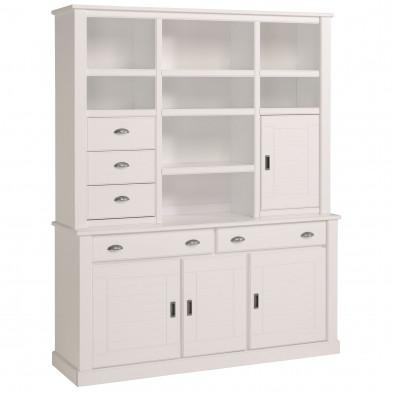 Argentier - vaisselier - vitrine contemporaine blanc L. 165 x P. 46.5 x H. 206 cm collection Athis