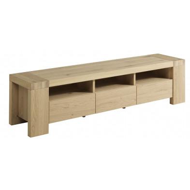 Meuble TV contemporain marron en bois massif L. 177 x P. 44 x H. 45 cm Collection Loncin