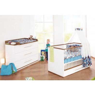 Pack chambre bébé marron design en bois massif collection Verhorst