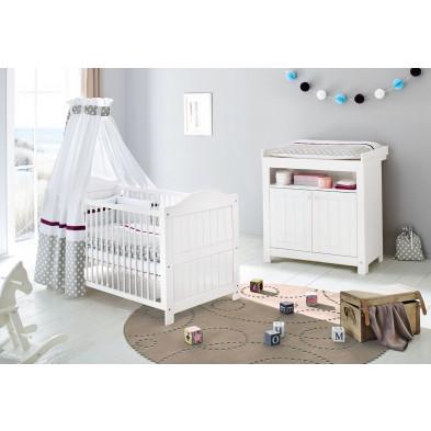 Pack chambre bébé blanc design en bois massif collection Vanuffelen