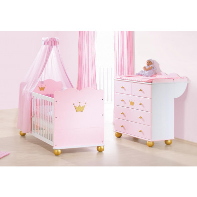 Lot de 2 Packs chambre bébé blanc design en bois massif collection Mukaddes