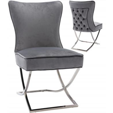 Chaise de salle à manger design avec capitonnage à l'arrière revêtement en velours gris et piètement croisée en acier inoxydable argenté collection CAVALLI