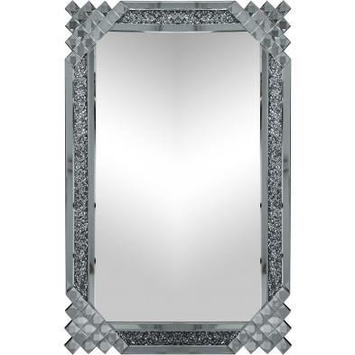 Miroir argenté design effet 3D  80 cm x 120 cm collection Danielo
