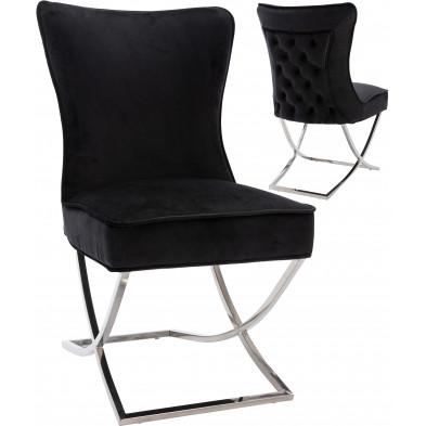 Chaise de salle à manger design avec capitonnage à l'arriere revetement en velour noir et piètement croisée en acier inoxydable argenté collection collection CAVALLI