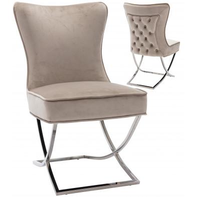 Chaise de salle à manger design avec capitonnage à l'arriere revetement en velour taupe et piètement croisée en acier inoxydable argenté collection collection CAVALLI