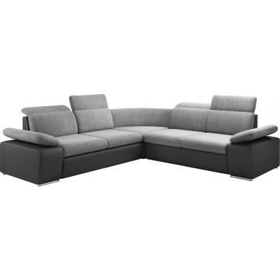 Canapés d'angle gris design en acier réversible canapé 6 places L. 275-275 x P. 96 x H. 86-100 cm collection Tiatore