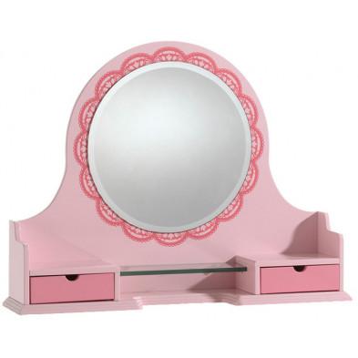 Sumeuble avec miroir pour bureau L. 95 x P. 20 x H. 70 cm pour chambre fille en MDF coloris rose collection Ashcroft