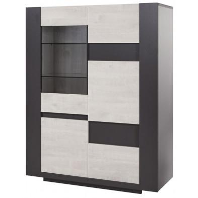 Argentier - vaisselier - vitrine chêne design en panneaux de particules de haute qualité  L. 120 x P. 48 x H. 156 cm collection Overtake