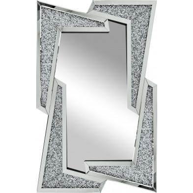 Miroir argenté design effet 3D L 80 x 120 cm collection Fairbanks