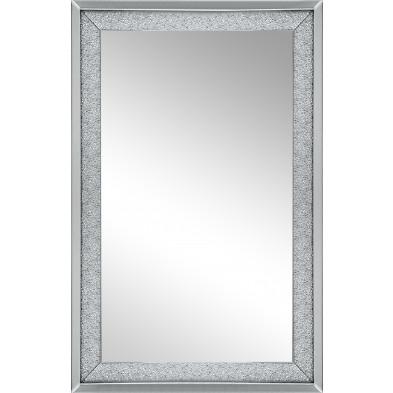Miroir mural argenté design effet 3D L. 80 x P. 2 x H. 120 cm collection Worsat