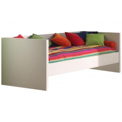 Lit enfant blanc design en bois mdf 90 x 200 cm  collection Klasen