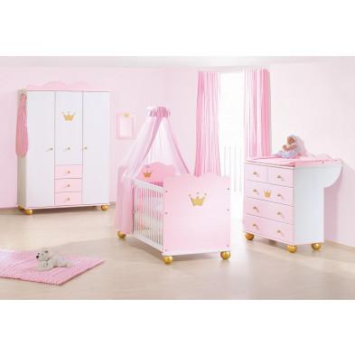 Composition chambre bébé coloris rose et blanc  collection