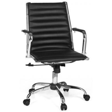 Chaise et fauteuil de bureau noir design en pvc L. 60 x H. 93 - 101 cm x P.57 cm collection Siebelink