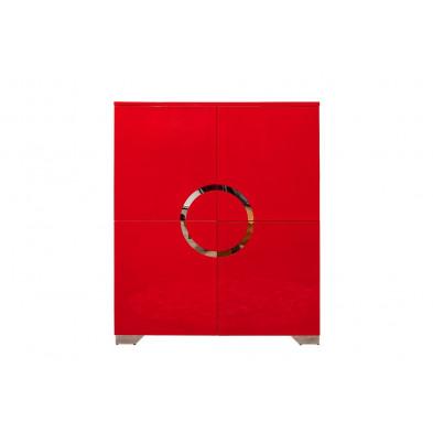 Buffet design en MDF coloris rouge brillant L. 100 x P. 45 x H. 120 cm collection Antje