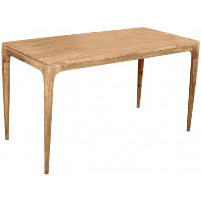 Table de salle à manger contemporaine en acacia coloris naturel  L. 140 x P. 70 x H. 76 cm collection Stockman