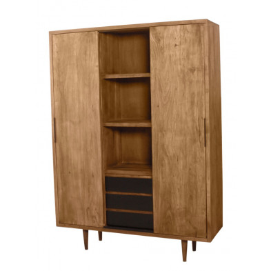 Meuble haut séjour contemporain en acacia et en métal avec 2 portes 3 tiroirs  L. 130 x P. 40 x H. 180 cm collection Stockman