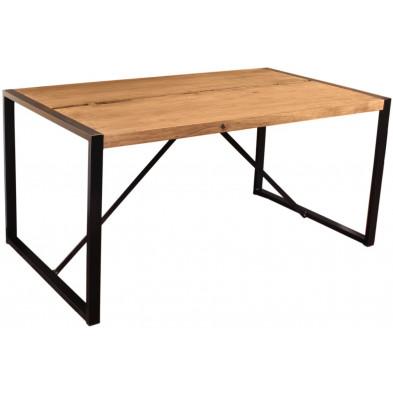 Table de salle à manger contemporaine en acacia et métal coloris cognac et noir L. 200 x P. 100 x H. 76 cm collection Castanoprimo