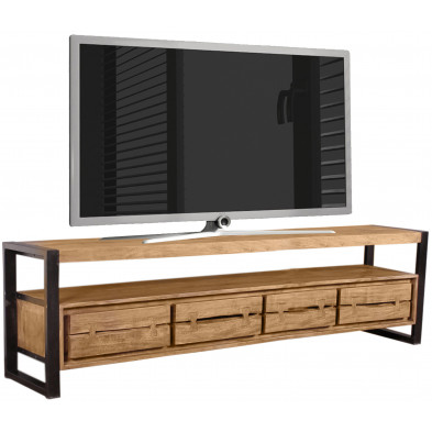 Meuble TV  contemporain en acacia et métal coloris cognac et noir L. 200 x P. 40 x H. 55 cm collection Castanoprimo