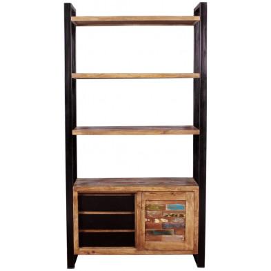 Bibliothèque vintage avec 1 porte coulissante et 3 tiroirs en bois massif recyclé avec piètement en acier L. 100 x P. 40 x H. 190 cm collection Lauzier