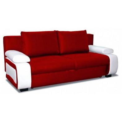 Canapé convertible design à 2 places en pvc rouge et blanc avec coffre de rangement   L. 200 x P. 97 x H. 90 cm collection Madone