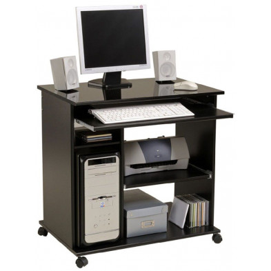 Bureau informatique design noir L. 76 x P. 50 x H. 76 cm Collection Charlevoix