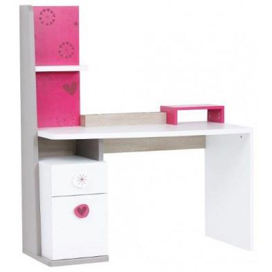 Bureau moderne pour enfant avec 1 porte et 1 tiroir coloris blanc et rose en Panneaux de particules de haute qualité L. 128 x P. 62 x H. 151 cm collection Nohat