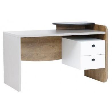 Bureau moderne avec 2 tiroirs coloris blanc et gris L. 135 x P. 68 x H. 86 cm collection Controne