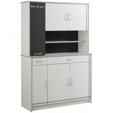 Buffet & vaisselier moderne gris en panneaux de particules mélaminés de haute qualité L. 122 x P. 44 x H. 182 cm Collection Purnode