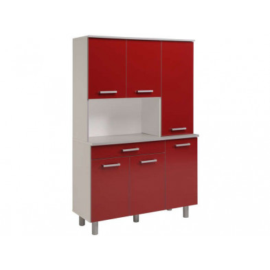 Buffet & vaisselier moderne rouge en panneaux de particules de haute qualité L. 120 x P. 44 x H. 186.5 cm Collection