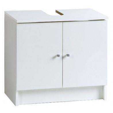 Meuble sous vasque moderne blanc en panneaux de particules mélaminés de haute qualité L. 59 x P. 38 x H. 55 cm Collection Leonard