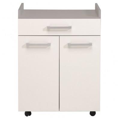 Meuble de rangement moderne blanc en panneaux de particules de haute qualité L. 60 x P. 44.3 x H. 81.5 cm Collection Anabel