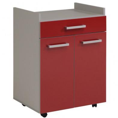 Meuble de rangement moderne rouge en panneaux de particules de haute qualité L. 60 x P. 44.3 x H. 81.5 cm Collection Blackpool